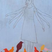 Vögel II 2009 Acryl auf Sperrholzschnitt 200 x 145 cm