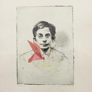 ORIGAMI red paper bird 2020 Monotypie  Papier (incl. Rahmen) Blatt: 60 x 50 cm