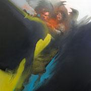 BIRDY BRAWLS 2019 Öl + Sprühlack auf Leinwand  130 x 80 cm