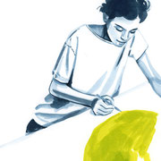 #31 Girls on A4  Nr. 25  (zeichnend) 2018 Tuschezeichnung auf Papier gerahmt im Holzrahmen, weiß lasiert 29,7 x 21 cm