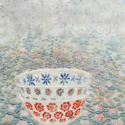 Stilleben Schale 3 2019 Paraffin + Öl auf Papier  70 x 50 cm