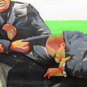 Fighters, Ukraine 2014 Öl, Acryl, Sprühfarbe auf Leinwand  65 x 178