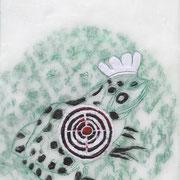 Traget 6 (Frosch),  2015, Paraffin und Öl auf Nessel,  24 x 18 cm