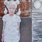 Mondlicht 1, 2016, Acryl und Papier auf Leinwand, 100 x 100 cm