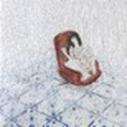 Der Schlaf, 2014, Paraffin und Öl auf Papier,  50 x 50 cm