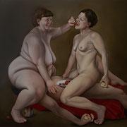 Lillith und Eva  Öl auf Leinwand 140 x 150 cm