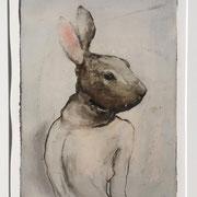 Monotypie: Hase (incl. Rahmen) 2019 Papier  60 x 50 cm