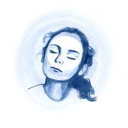 Moongirl 10 2019 Tuschezeichnung auf Papier, gerahmt 29,7 x 21 cm