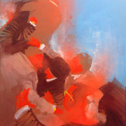 Fighters/ Indien 2015 Öl, Acryl, Sprühfarbe auf Leinwand  50 x 40 cm