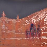 Ulaanbaartar I 2017 Papierschnitt, Acryl  60 x 84 cm