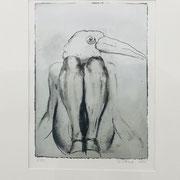 BIRD 2020 Monotypie  Papier (incl. Rahmen) Blatt: 60 x 50 cm                incl. Rahmen: 63 x 52,5 cm