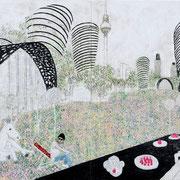 Wie wir leben wollen 8 2017 Paraffin und Acryl auf Pappe  101 x 141 cm