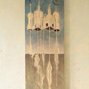 Seilschaft (Große Luftnummer)  (incl. Rahmen) 2017 Linde ca. 120 x 40 x 6 cm