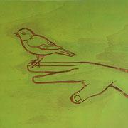 Spatz im Café V 2011 Acryl auf Sperrholzschnitt  27,5 x 28,5 cm