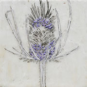 Über die Kunst Gras wachsen (zu) lassen 17 2016 Paraffin und Öl auf Nessel  20 x 20 cm