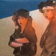 Nippon rise  2019 Öl, Sprühlack auf Leinwand  ca. 20 x 20 cm