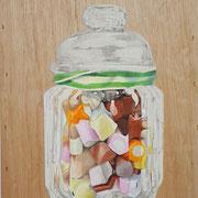 Candy (Holz) 2017 Mixed Media auf Leinwand 34,5 x 24 cm