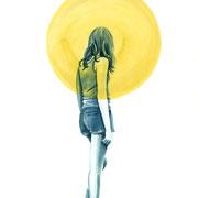 Moongirl 11 2019 Tuschezeichnung auf Papier, gerahmt 29,7 x 21 cm