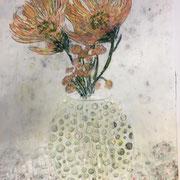 Blumenvase 3 2020 Paraffin und Öl auf Papier 40 x 40 cm