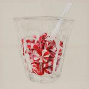 Bonbons trinken , 2015, Mischtechnik auf Leinwand, 100 x 100 cm