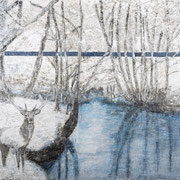 HIRSCH AM SEE 2020 Paraffin + Acryl auf Pappe  100 x 150 cm