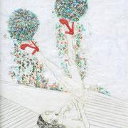 Spieltrieb 7, 2013, Paraffin und Öl auf Nessel,  38 x 28 cm