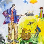DER GLANZ DER TAGE 1, 2012, Mixed Media auf Leinwand, 130 x 150 cm