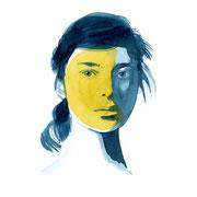Moongirl 13 2019 Tuschezeichnung auf Papier, gerahmt 29,7 x 21 cm