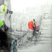 Frau mit Kinderwagen, 2013, Bleistift/Buntstift auf Papier, 150 x 150 cm