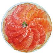 Grapefruit tart 2017 Öl auf Leinwand Ø 50 cm