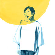 Moongirl 8 2019 Tuschezeichnung auf Papier, gerahmt 29,7 x 21 cm