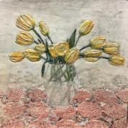 Blumenvase 4 2020 Paraffin und Öl auf Papier 40 x 40 cm