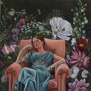 Blumenmeer / Melancholie, 2014, Öl auf Holz, 25 x 25 x 6 cm