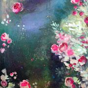 Seerosen 2018 Acryl auf Leinwand 100 x 50 cm