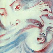 DIE RINGERIN XI (aus dem Bilderbuch die Ringerin) 2020 Bleistift + Acryl auf Transparentfolie  31 x 59 cm
