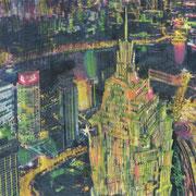 """Shanghai (Aus dem Bilderbuch """"Der Vogel"""") 2018 Bleistift, Buntstift und Ölfarbe auf Transparentpapier  38 x 56 cm"""