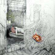 Schlafende Frau, 2013, Bleistift/Buntstift auf Papier, 150 x 150 cm