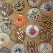 Donuts, 2016, Mischtechnik auf Leinwand, 43 x 43 cm