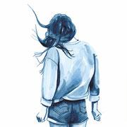 #31 on A4 Nr. 6 (Hot pants) 2017 Tuschezeichnung auf Papier gerahmt im Holzrahmen, weiß lasiert 29,7 x 21 cm