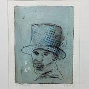 BIG HAT incl. Rahmen 2016 Mischtechnik auf Papier Blatt: 38 x 29 cm                incl. Rahmen: 52 x 43 cm