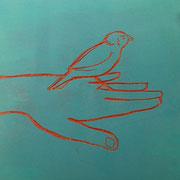 Spatz im Café VIII, 2011, Acryl auf Sperrholzschnitt,  27,5 x 28,5 cm