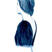 #31 Girls on A4  Nr. 8  2018 Tuschezeichnung auf Papier gerahmt im Holzrahmen, weiß lasiert 29,7 x 21 cm
