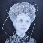 Portrait mit Linie 2019 Acryl auf Leinwand 100 x 100 cm