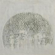 Kuppel 2 2019 Paraffin und Acryl auf Holz 34 x 42 cm
