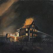 Fire, 2015, Öl auf Holz, 20 x 20 x 6 cm