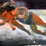 Sumofighter 2018 Öl, Acryl auf Leinwand  30 x 25 cm