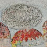 Kuppel 1 2019 Paraffin und Acryl auf Holz 34 x 42 cm