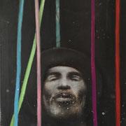 o.T. head + stripes, 2016, Öl auf Leinwand, 84 x 64 cm