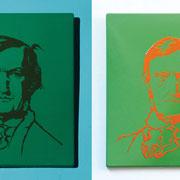 Ich mag Wagner # 3 Wagner: Positiv/Negativ (Ausleuchtung mit blauem Spotlight + Normallichtausleuchtung 2014 Industrieemaille auf Stahlblech  56 x 49 x 2 cm