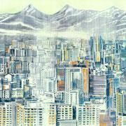 DIE RINGERIN I (aus dem Bilderbuch die Ringerin) 2020 Bleistift + Acryl auf Transparentfolie  31 x 59 cm